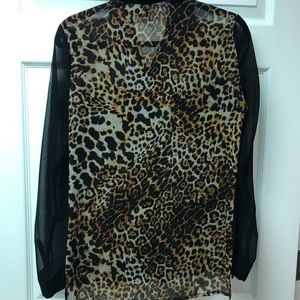 Leopard sheer button down blouse